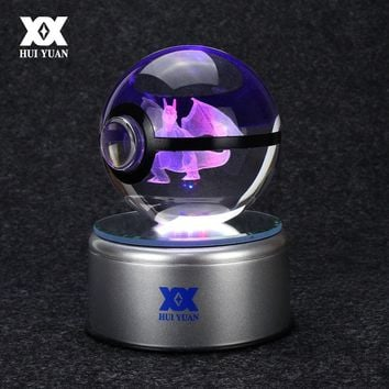 Charizard 3D Crystal Ball  Go Light Glass Ball Engraving Round With Black Line Ball LED Colorful Base Child's GiftKawaii Pokemon go  AT_89_9