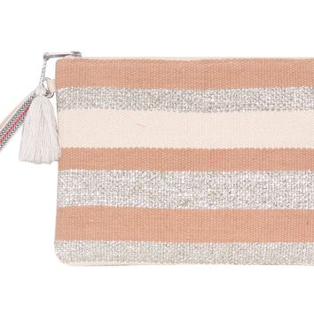 Peach Bloom Glitter Clutch