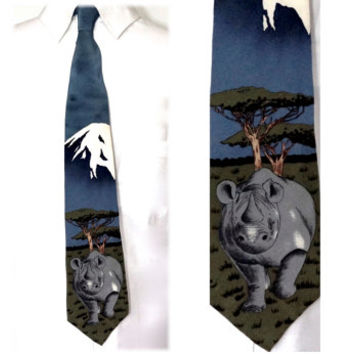 Vintage Silk Tie, WWF® Tie, World Wildlife Fund 1991,Silk Crepe Tie,Rhinoceros Tie,Wild Animal Necktie,Novelty Tie,USA Made,Collectible Ties