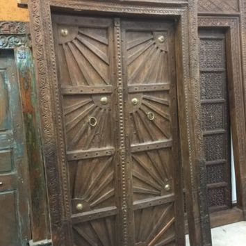 Antique India GROUNDING Doors & FRAME SUNRAY Carved TEAK Haveli ARCHITECTURE 18c