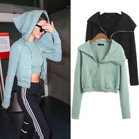 Women's Fashion Hot Sale Zippers Irregular Crop Top Jacket [11132271943]