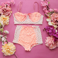 POLKA / Polka dot lycra and floral lace lingerie set / Made to order