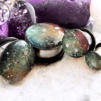 READY NOW: Space is Deep Red Green Handpainted Nebula Plug