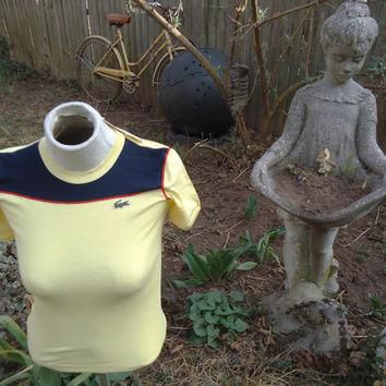 vintage DEADSTOCK Chemise LACOSTE Small Yellow Ringer Tee Shirt NOS