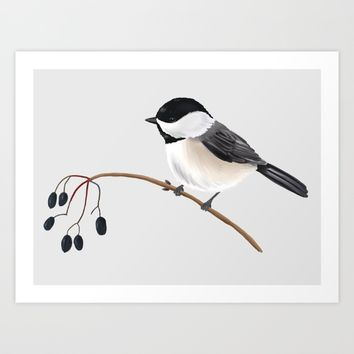Winter Chickadee Art Print by 13sparrows