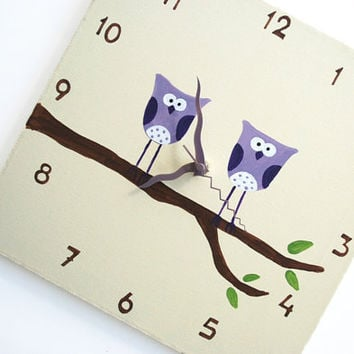 Children's Wall clock Hand painted on canvas Two by Shellyka