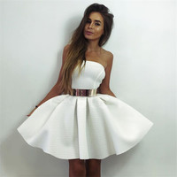 White Strapless Pure Color Short Skater Dress