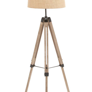 The Elegant Wood Metal Tripod Floor Lamp
