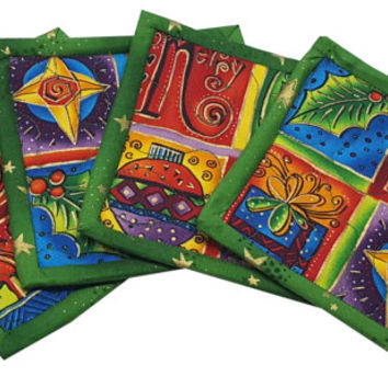 Christmas Coasters in Laurel Burch Enchantment Fabrics