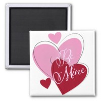 """Valentine""""s Day Hearts Square Magnet"""