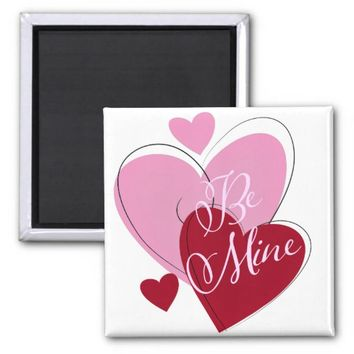 "Valentine""s Day Hearts Square Magnet"