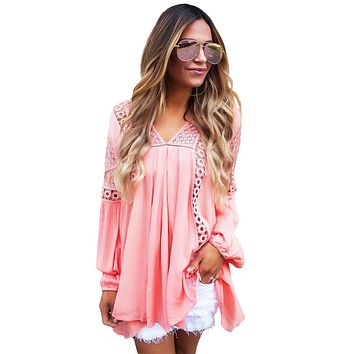 Chicloth Pink Crochet Lace Trim Relaxed Long Sleeve Tunic