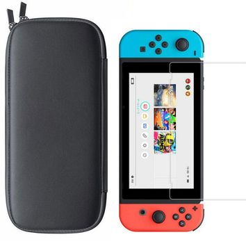 Travel Carry Bag with HD Tempered Glass Screen Protector for Nintendo Switch