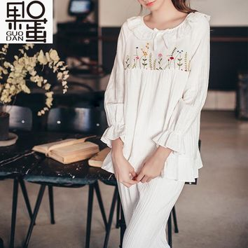 Maternity Nursing Embroidery Clothes Sets Cotton Leisure Sleep Wear Pregnant Women Breastfeed Tops Pants Set Long Sleeve M L 2XL