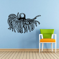 Jellyfish Wall Decal Scuba Tentacles Deep Sea Ocean Fish Wall Decals Vinyl Sticker Interior Home Decor Vinyl Art Wall Decor Bedroom SV5820