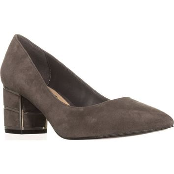 Steve Madden Buena Pointed Toe Block Heel Kitten Pumps, Grey, 6.5 US