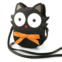 """Cat"" Premium Vinyl Cross Body Bag (Black)"