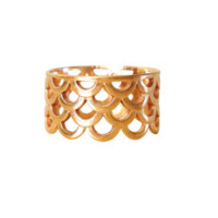 Keani Jewelry Mermaid Scale Ring 14K Heavy Gold Plated or Sterling Silver