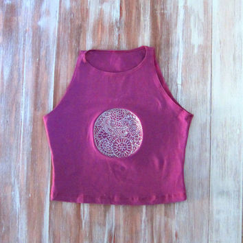 Purple Crop Top With Embroidered Full Moon-Womens Sleeveless Crop Top-Yoga Top-American Apparel Crop Top-Moon Crop Top-Berry