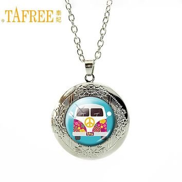 TAFREE peace symbol bus Locket Necklace for women peace and love silver chain long Necklace Jewelry vintage steampunk H199