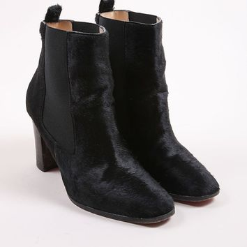 HCXX Black Pony Hair Square Toe Ankle Boots