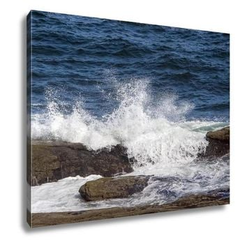 Gallery Wrapped Canvas, Ocean Waves Splash Over Rocks On Maines Coast Near Pemaquid Point