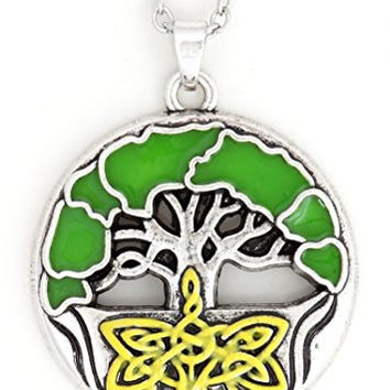 Celtic Tree of Life Necklace Silver Tone NX04 Green Enamel Pendant Fashion Jewelry