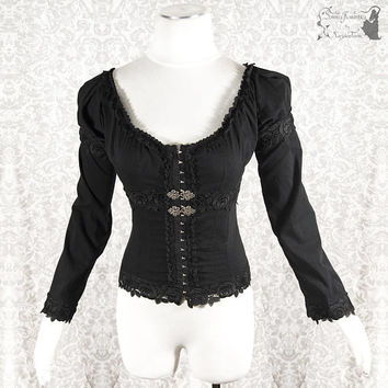 Blouse Victorian, steampunk, black shirt, gothic, goth, Somnia Romantica, approx size small, see item details for measurements