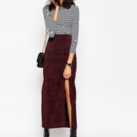 ASOS Maxi Skirt with Thigh Split in Suede at asos.com