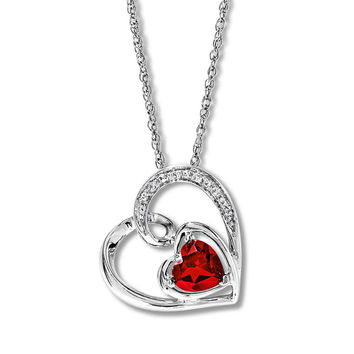Lab-Created Ruby Heart Necklace Sterling Silver