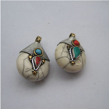 Nepal Natural Stone Antique Silver Charms Pendants For Necklace Zinc Alloy 25*35mm Drop Water Resin