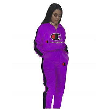 Champion Autumn And Winter New Fashion Embroidery Letter Two Piece Suit Sports Leisure Hooded Long Sleeve Top And Pants Women Purple