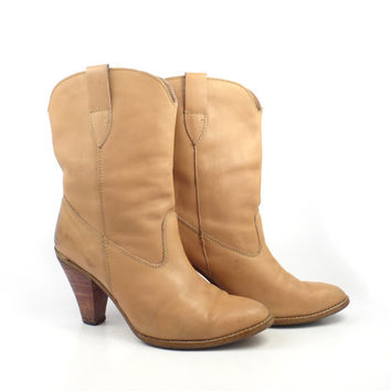 Cowboy Boots Vintage 1970s Stacked Heel Tan Carmel Brown Women's size 8