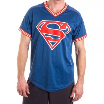 Superman 00 Men's Blue Mesh Poly Jersey Sports Short Sleeves T-Shirts