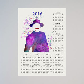 The Joker Batman Calendar Personalized 2016 Watercolor Dc Comics Save the date New Year Birthday present Dark Arkham Knight Price of crime