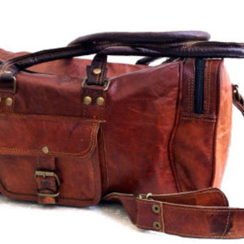 "18"" genuine Leather vintage duffle bag luggage bag gym bag weekend bag overnight"
