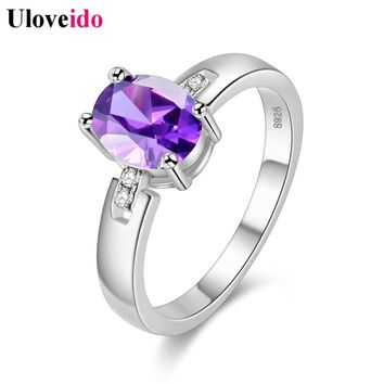 Uloveido 10% Off Crystal Jewellery Silver Color Ring Purple Wedding Rings for Women Bijouterie Female Costume Jewelry Sale Y3368