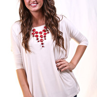 Butter Cream 3/4 Sleeve Piko