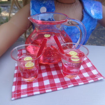 Pink Lemonade Cups & Pitcher for American Girl/18-in Dolls