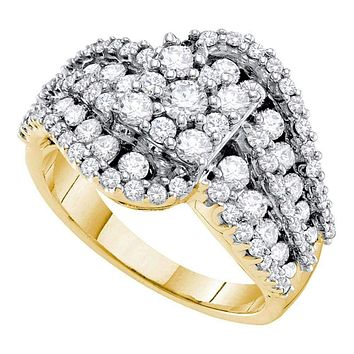 14k Yellow Gold Round Diamond Flower Cluster Women's Wide Bridal Engagement Ring 2.00 Cttw - FREE Shipping (US/CAN)