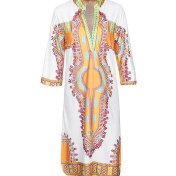 Dashiki Colorful Pattern Tribal Print Women Summer Dress V Neck Tunic Loose African Print 2017 Quality New Style Summer Dress
