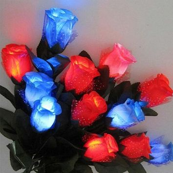 LED Light Up Rose Flower Valentines Mothers Day Birthday Party Supplies Wedding Decoration Halloween Fake Flower