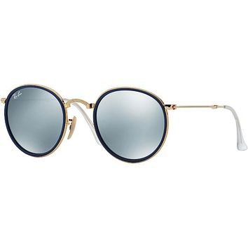 Ray Ban RB3517 001/30 Round Metal Folding Sunglass Gold ,SILVER MIRROR