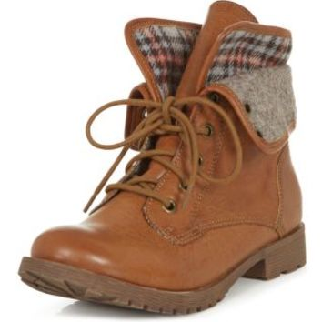 Tan Check Lined Cuffed Lace Up Boots