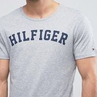 Tommy Hilfiger Logo Crew T-Shirt Grey at asos.com