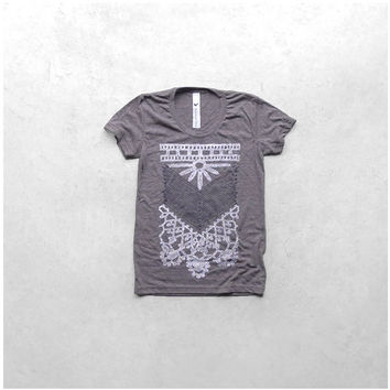 The Nomad - women tshirt   ladies top - tribal chest plate screenprint in white and gray - heather brown womens t shirt - gift for her