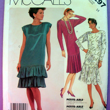 Women's Dropped Waist Dress Misses' / Misses' Petite Size 14 McCall's 2297 Sewing Pattern Uncut 1980's