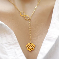 Gold Infinity Lotus Lariat Pendant Necklace Figure Eight Lotus Flower Choker Necklace for Women XL043