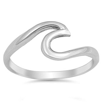 .925 Wave Designed Sterling Silver Ring