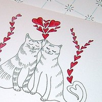 Cat Anniversary Card Cat Couple Anniversary Card Cute Cats in Love Anniversary Card Black White and Red